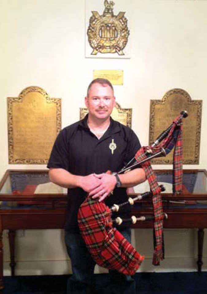 Brian Laidlaw with pipes