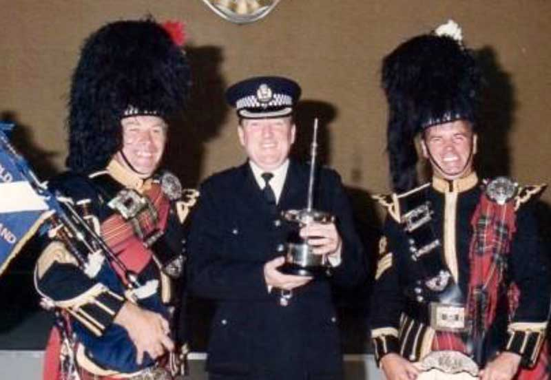 Ian McLellan, Inspector Dugald Gillespie and Alex Connell in 1979 after winning the Worlds that year which was held in Nottingham, England.