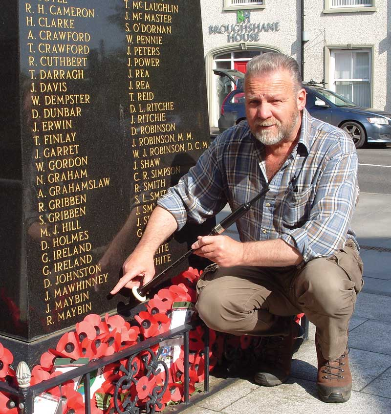 Iain Bell at the war memorial in Broughshane.