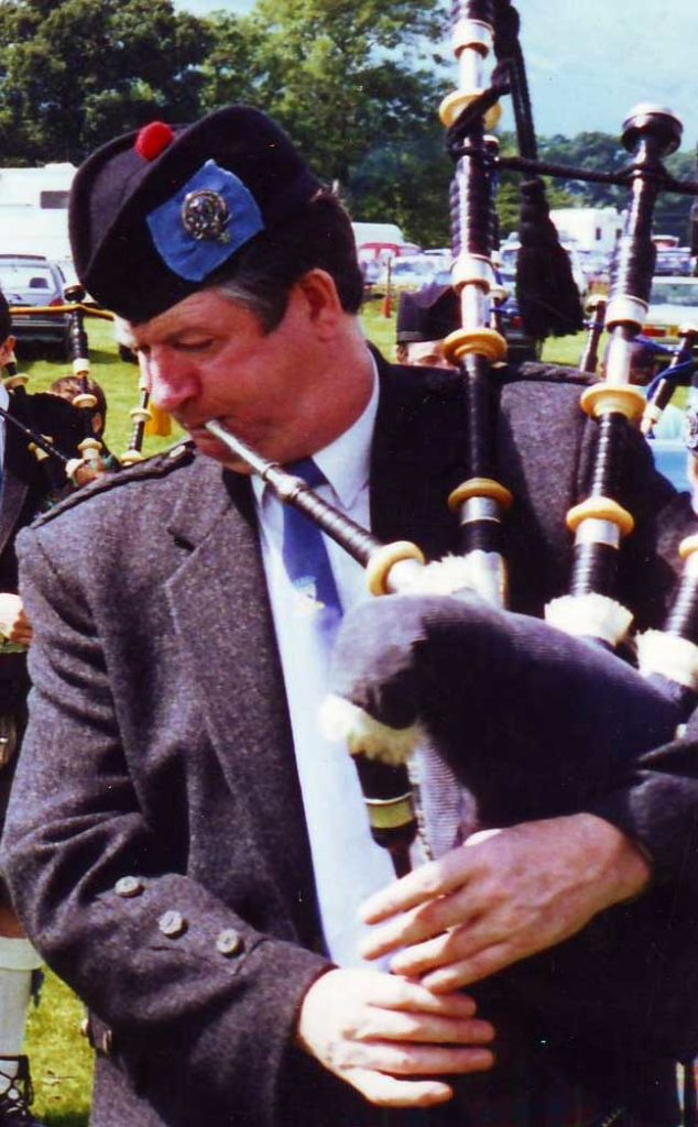 Pipe Major Angus MacDonald pictured in 1995.