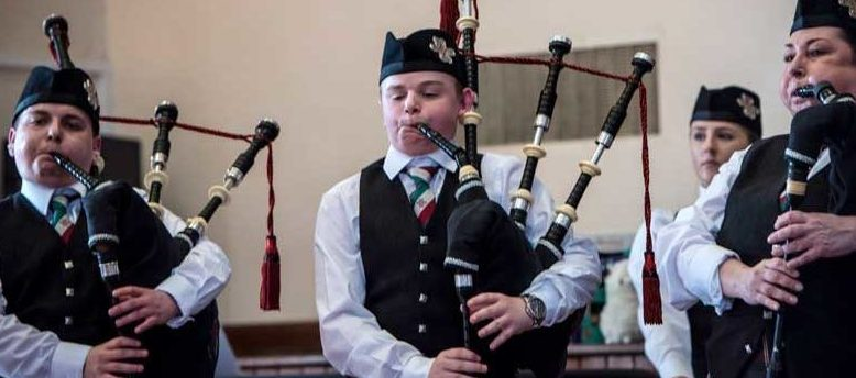 Portlethen Pipe Band at yesterday's competition.