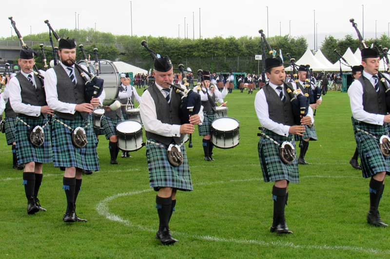 Inveraray Pipe Band marches into the circle today at the British Pipe Band Championships held in Paisley.