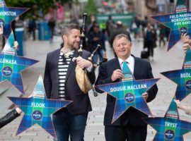 Finlay MacDonald and Roddy MacLeod in Buchanan Street today for the official launch of the 2019 Piping Live! festival. (Photo: Chris James)