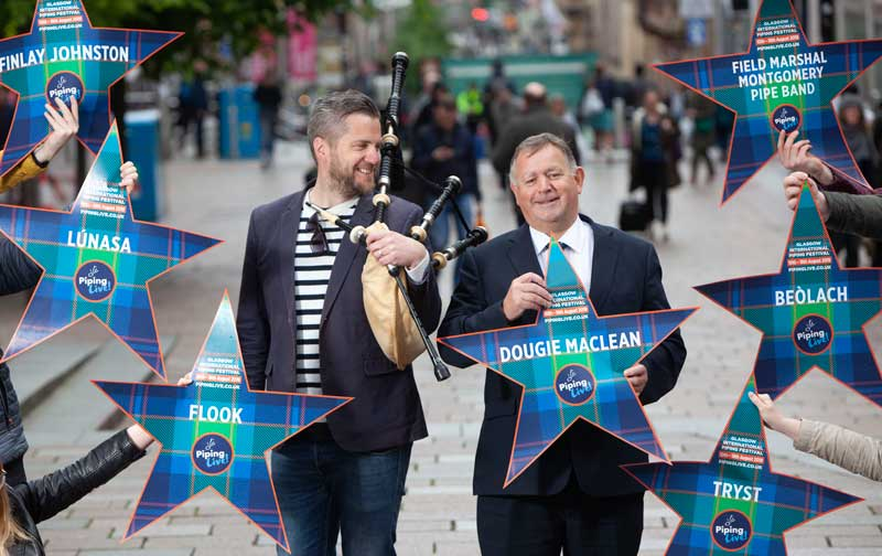 Finlay MacDonald and Roddy MacLeod in Buchanan Street today for the official launch of the 2019 Piping Live! festival.