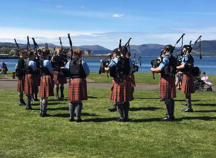 Oban High School tuning up at Gourock today.