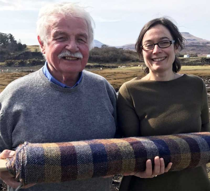 Jimmy Hutchison and Erika Cragg with the new tweed they devised for the Tuscan town of Barga.