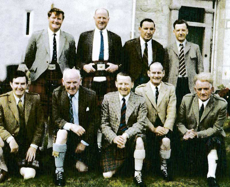 At a summer school in Dingwall in the 1970s with (back row) John MacDougall, Jimmy MacGregor, Duncan Johnstone and John D. Burgess and front, Donald MaCPherson, Ronnie MacCallum, John MacKenzie and Fred Morrison Snr.
