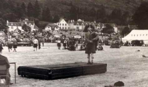 Jimmy playing Lament for the Children at Lochearnhead Games in 1970.