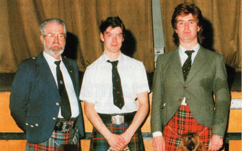 Owen with Gordon Duncan and Fred Morison at a 1992 recital he organised in Manchester, England.