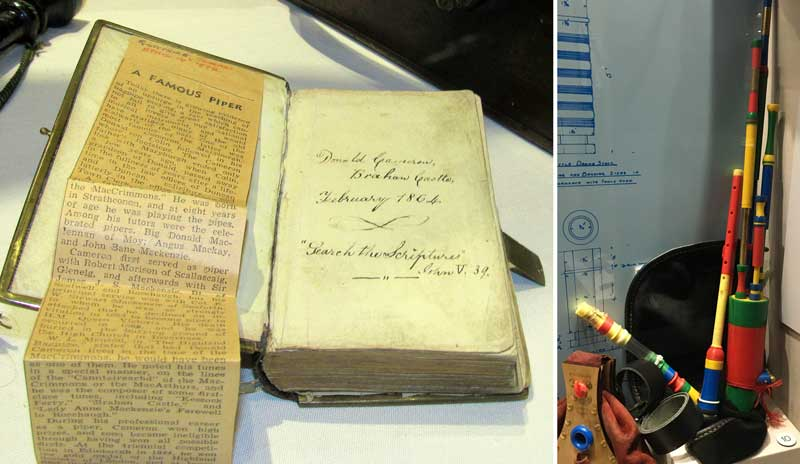 Donald Cameron's bible, left, and the 3D-printed Pollok Pipes.