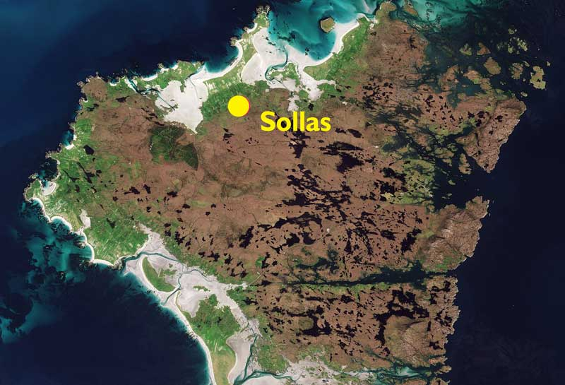 Map of North Uist showing the location of the Sollas township.