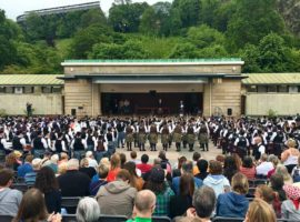 Massed bands at today's Edinburgh Pipe Band Championships.