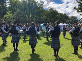 New Ross & District Pipe Band tuning up in the sunny conditions today at Howth.