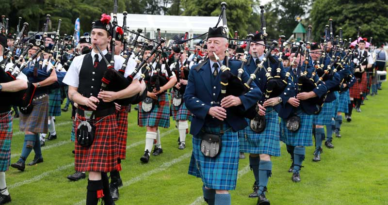 Massed bands at Forres last Saturday.