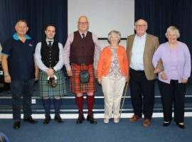 L-R: Roddy MacLeod, Finlay Johnston, John Wilson, Susan Miller, John Smith and Fiona MacLeod at the launch yesterday at The National Piping Centre Otago Street.