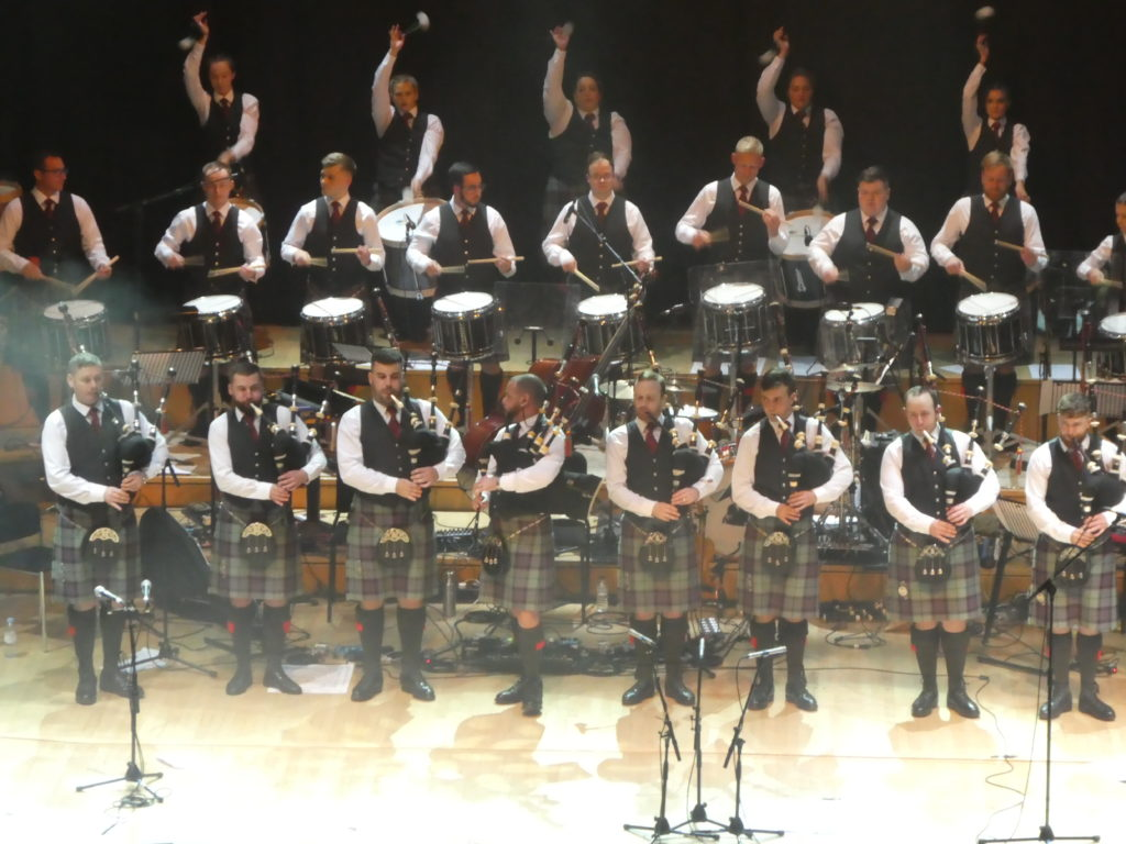 Scottish Power Pipe Band on stage last night at the Glasgow Royal Concert Hall.
