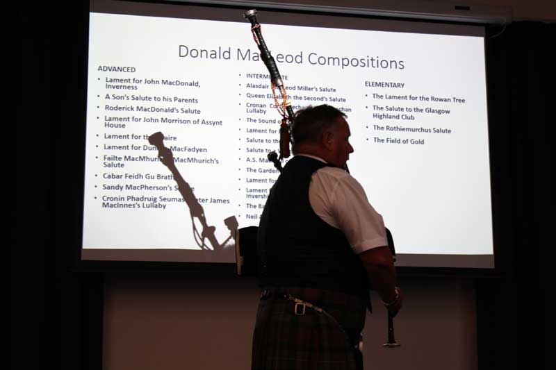 Roddy MacLeod into 'Lament for John McDonald of Inverness' at the launch at Otago street of the new Pipe Major Donald MacLeod collection of the maestro's pibroch compositions.