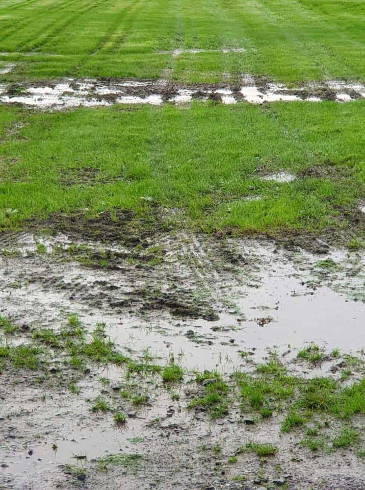A waterlogged part of the games field at Scone Palace this evening.