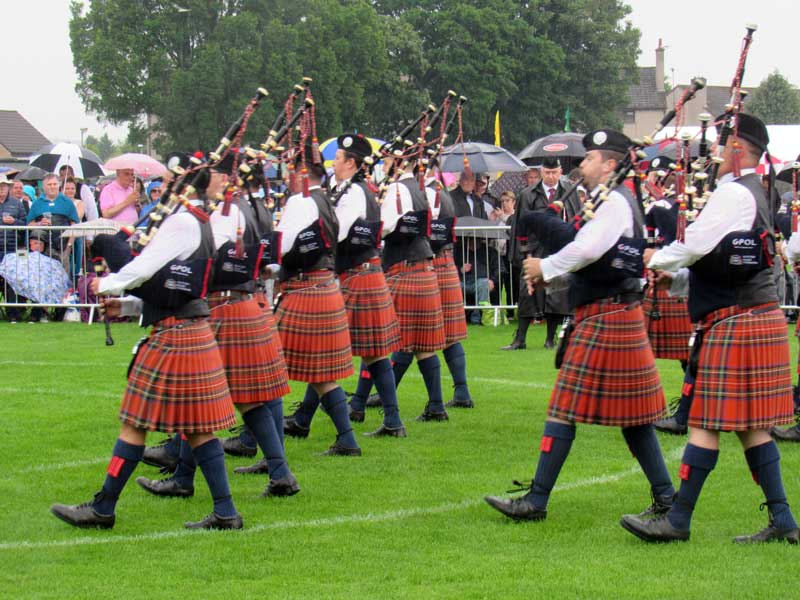 Glasgow Police with Pipe Sergeant Alisdair McLaren, marches into the circle at the 2019 European Pipe Band Championships in Inverness.