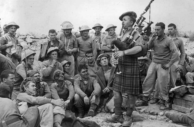 Pipe Major Robert 'Rob' Roy, MBE, DCM – The Piper of Tobruk.