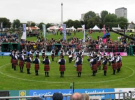 Simon Fraser University competing at the 2018 World Pipe Band Championships.