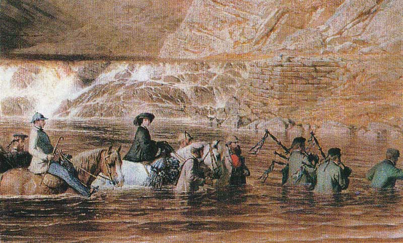Fording the River Tarf as John MacPherson and Aeneas Rose play.