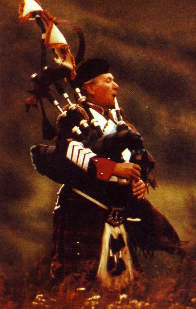 Pipe Major Alex MacRae, Atholl Highlanders, as he appeared on cover of the July 1989 Piping Times.