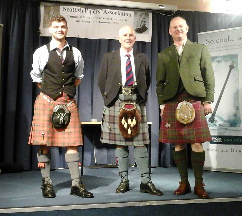 Angus MacColl Jnr., Tom Johnstone (SPA President) and John Patrick.