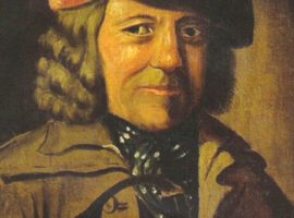 Geordie Syme, town piper of Dalkieth in the mid-18th century, Geordie Syme, the piper of Dalkeith, was allowed, beside a small wage, a suit of clothes: this consisted of a long yellow coat lined with red, red plush breeches, white stockings and shoes with buckles.