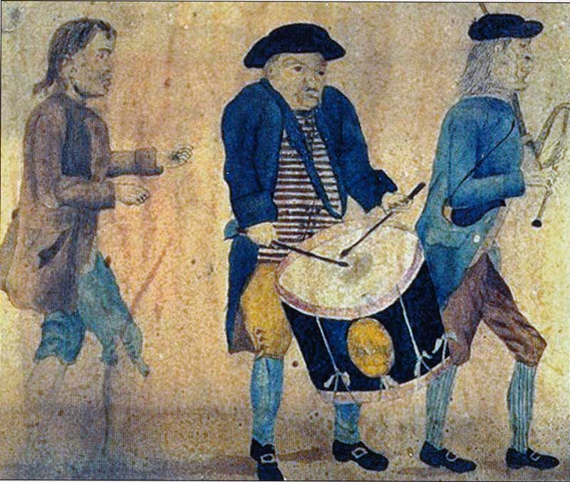 Contemporary sketch of 18th century town piper and drummer.