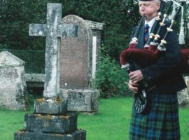 Piobaireachd Society Secretary, Bill Wotherspoon plays at the grave of one of piping's great figures of the past, Major General C. S. Thomason. 2011 was the centenary of his death.