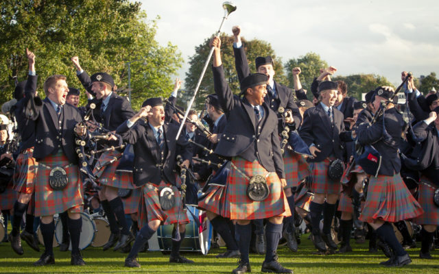 Celebration at the announcement of winning the Grade 1 World Pipe Band Championships 2009
