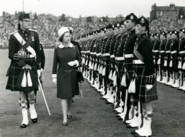 Commonwealth Games, Edinburgh 1970. The Queen inspects the Guard of Honour.