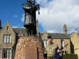 September 18, 2018. Inchdrewer House, home of the The Army School of Bagpipe Music and Highland Drumming. Pipe Major Ross McCrindle holds his Northern Meeting Silver Medal.