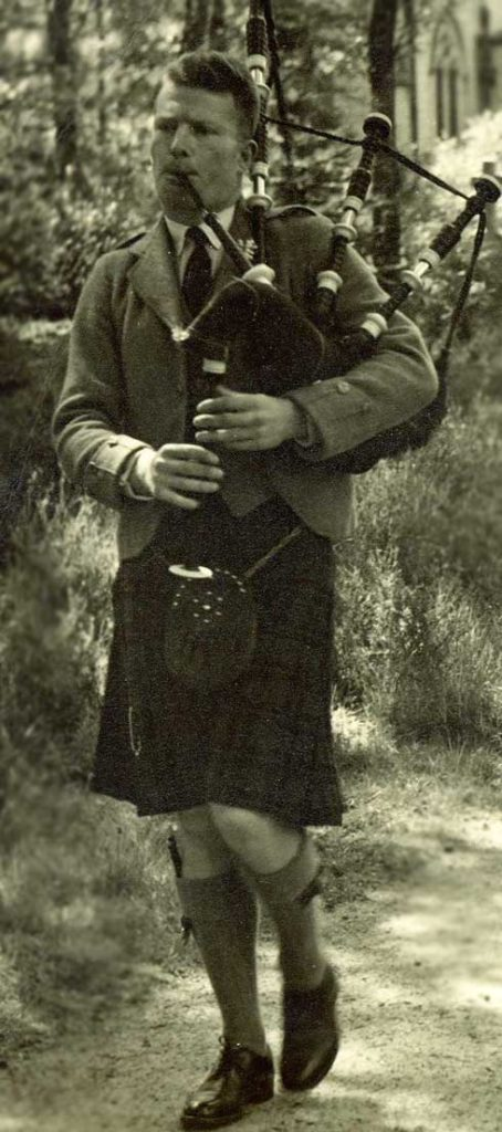 Bruce Thomson piping at a friend's wedding in Aboyne in 1954.