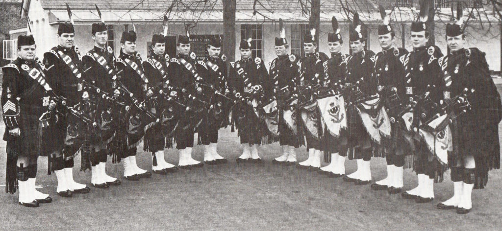 The 1st Bn Queen's Own Highlanders at Tidworth, England in 1983. Alasdair Gillies can be seen seventh from the right.