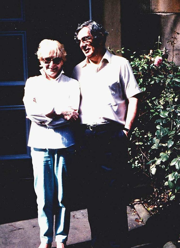 Christine and Captain John MacLellan outside their home in Dean Park Crescent, Edinburgh, where they edited The International Piper. (Photo courtesy of Colin MacLellan.)