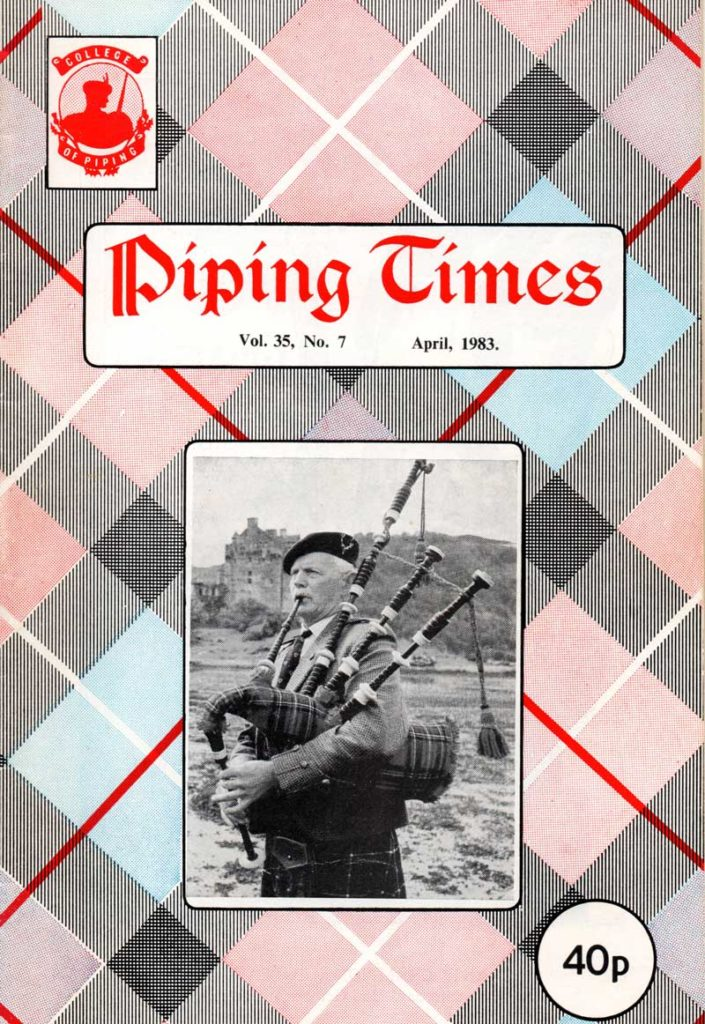 The cover of the April 1983 'Piping Times' featuring a photo of P.M. George MacKenzie.