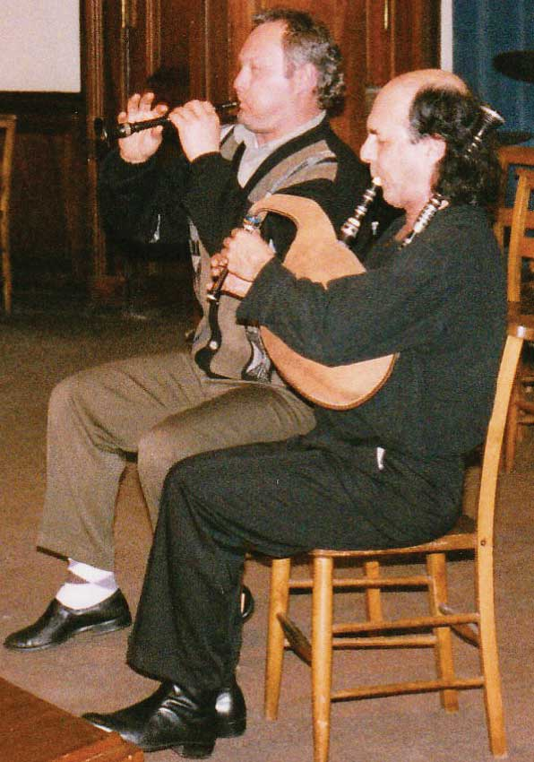 Georges Bothua and Patrick Molard playing at a concert held at Edinburgh Academy in 1998. The concert was promoted by the Lowland & Border Pipers' Society.