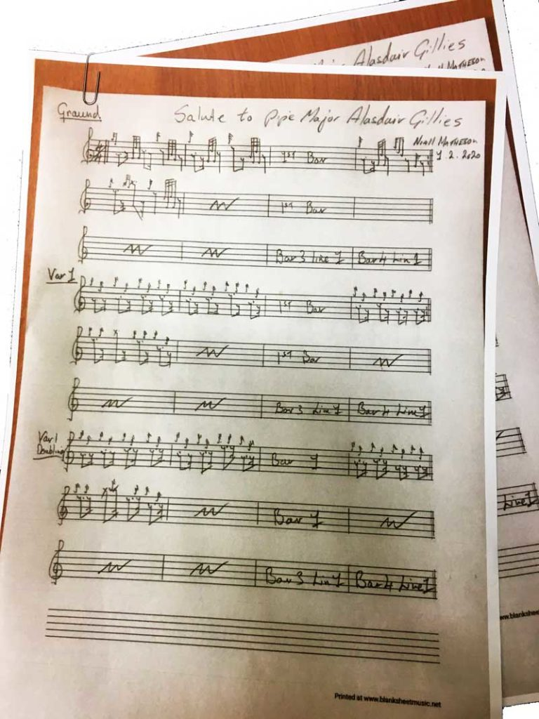 Niall Matheson's handwrittes score of the tune he has just composed for Alasdair Gillies.