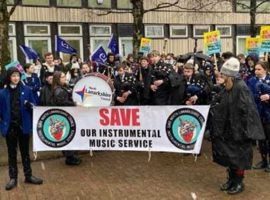The demonstration earlier today at Motherwell's Civic Centre as councillors met inside.