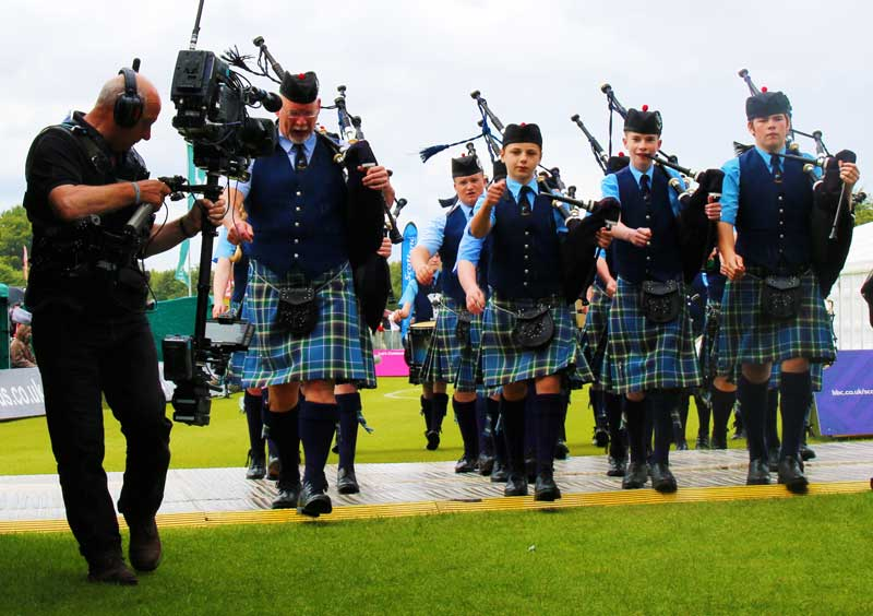 Niall Matheson leads the youngsters of Ross & Cromarty Pipe Band from the competition arena at the World Pipe Band Championships in 2015.