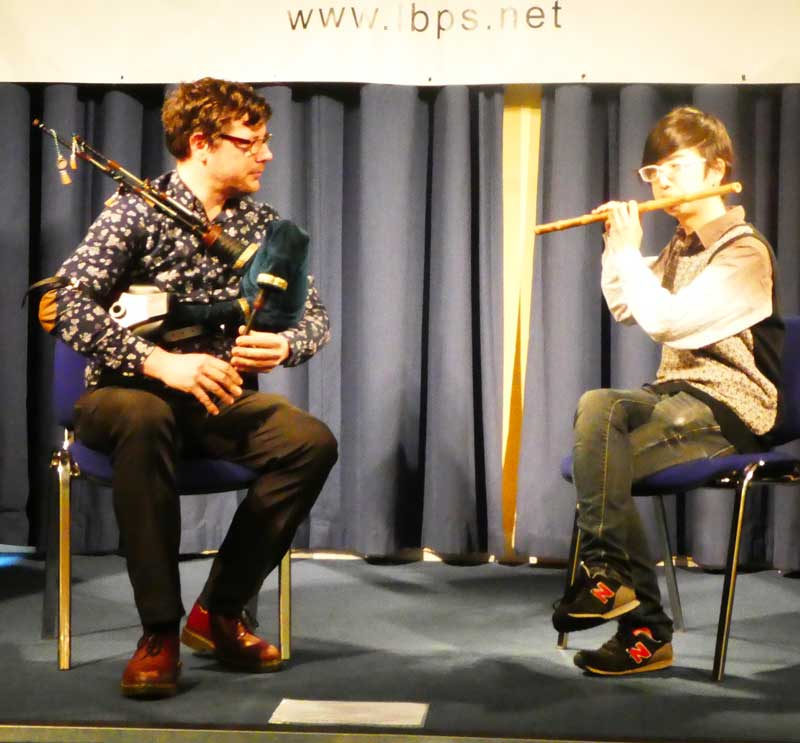 Donald Lindsay and Zexuan Qiao competing in the Smallpipes and OtherInstrument category at the 2019 competition.