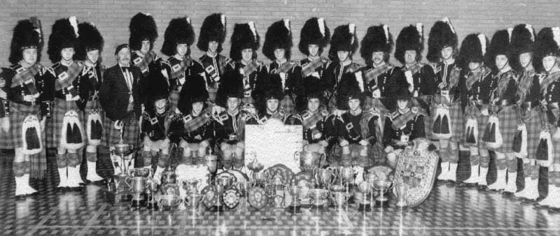 Pipe Major Bob Shepherd's Dysart & Dundonald Pipe Band photographed in autumn 1978 after what was a very successful season for the band.
