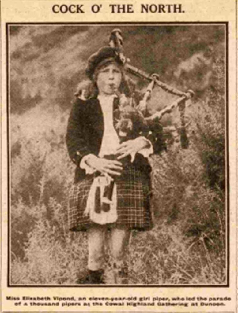 11-year-old Elizabeth Vipond who led the parade at Cowal in 1923.