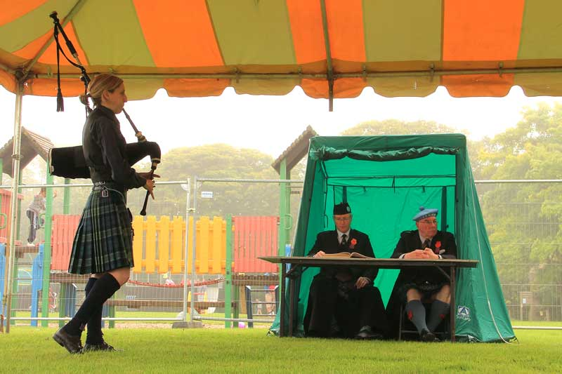 North Berwick, 2012. Jenny Hazzard competing for judges Ronnie McShannon and Hugh MacCallum.