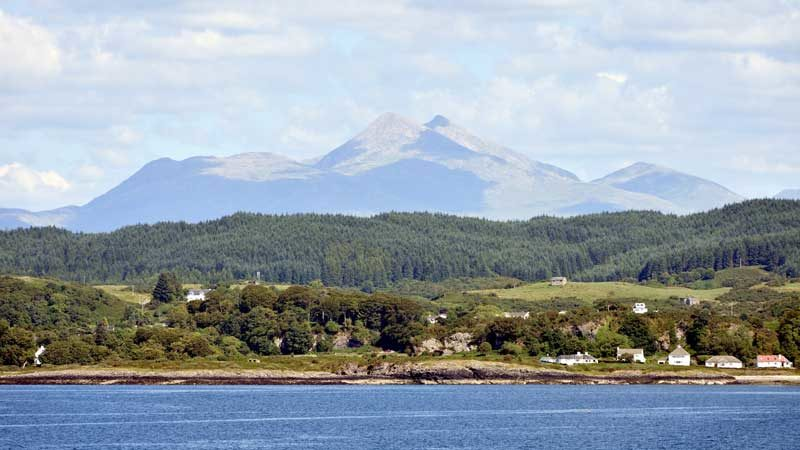 View towards Ben Cruachan from just north of Oban.