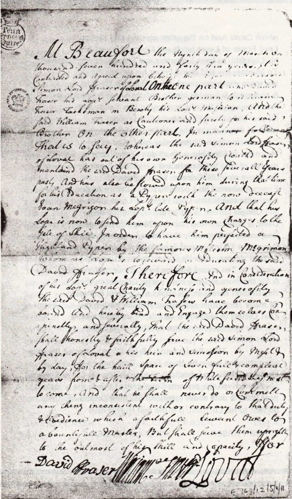 Photographic reproduction of page one of the 1743 piping indenture.