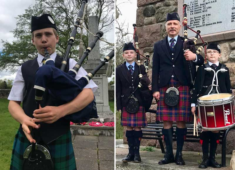 Left: Callan Taylor Bannockburn War Memorial, Stirlingshire, Scotland. Right: Neil Mitchell with sons Craig and Callum at Petercutler War Memorial, Aberdeenshire, Scotland.