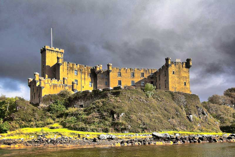 Dunvegan Castle, where the MacDonald's Salute was given its first airing in 1603 during a celebratory banquet to which the MacDonalds of Sleat were invited and which was held to mark the end of the feud with the MacLeods of Dunvegan.